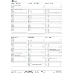Wandkalender Biella 875406, mit Notizraum, 1/2 Jahr pro Seite, deutsch