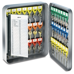 Schlüsselkasten KyStor KR-15 Keybox, 42 Haken, Zylinderschloss, silber