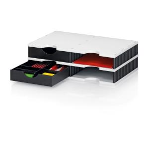 Ablagesystem Styrodoc Duo, mit 4 Fächern, schwarz/grau