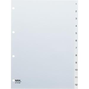 Register Kolma Vista A4, Kunststoff, 1-12, farblos
