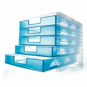 Schubladensystem Styro LightBox, 5 Schubladen, transparent/lagoon