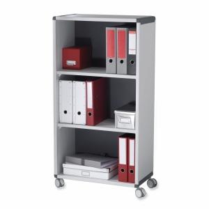 Büroregal Paperflow, mit 3 Etagen, mobil, B65,1xT33xH116,6 cm, grau