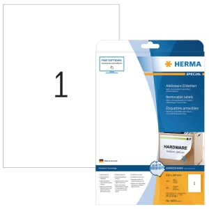 Etiketten A4 Herma 10021, 210x297 mm, ablösbar, weiss, Packung à 25 Stück