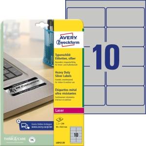Typenschild Etiketten Avery Zweckform L6012, 96 x 50,8 mm, Packung à 200 Stück