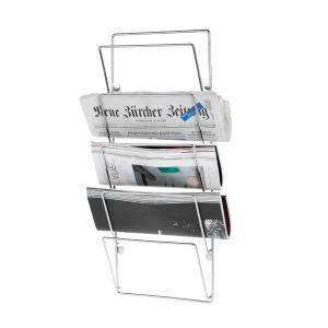 Zeitungshalter Merlot, für Wandmontage, 5 teilig, verchromt