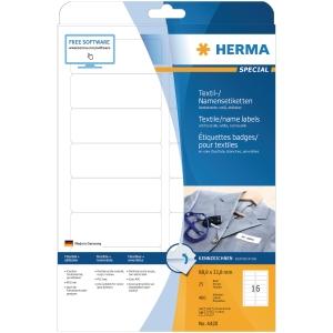 Namensetiketten A4 HERMA 4420, 88,9x33,8 mm, weiß, Acetatseide, Pack. à 400 Stk.