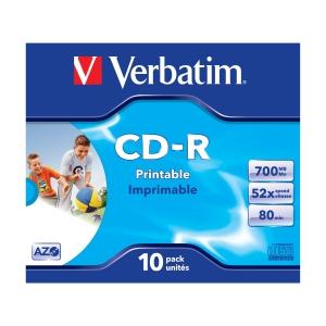 CD-R Verbatim, 700 MB/80 Min., InkJet bedruckbar, Jewel Case, Packung à 10 Stück