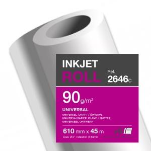 Inkjet Plotterpapier Clairefontaine 2646C, 610 mmx45 m 90g/m2
