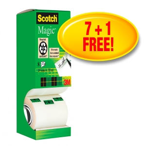Klebeband Scotch Magic 810, 19 mmx33 m, beschriftbar, 7+1 gratis, Pk. à 8 Stk.