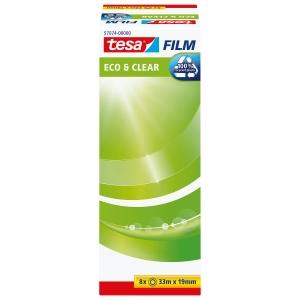 Klebeband tesa Eco&Clear, 19 mmx33 m, 7+1 gratis, transparent, Pk. à 8 Stk.