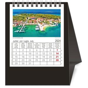 Tischplaner Novos Europa, 1 Monat pro Seite, Kunststoff, schwarz