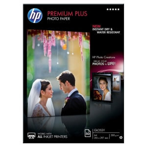 InkJet Fotopapier HP Premium Plus CR674A A4, 300 g/m2, glossy, FSC, Pk. à 50 Bl.
