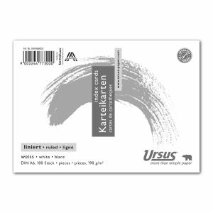 Karteikarten Ursus A6, liniert, weiss, Packung à 100 Stück