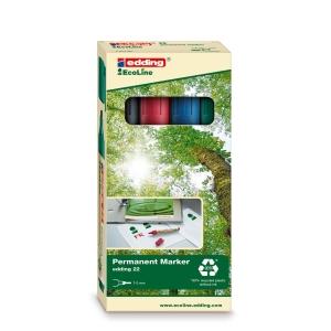 Permanent Marker Edding Ecoline 22, Keilspitze, Strichbreite 1-5 mm, 4er-Set,ass