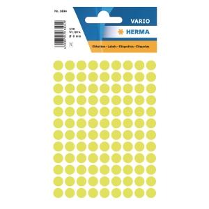 Vielzweck Etiketten HERMA 1834, 8 mm, rund, leuchtgelb, Packung à 540 Stück