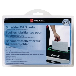 Rexel Aktenvernichter Reinigungsöl-Blätter, Packung à 20 Stück