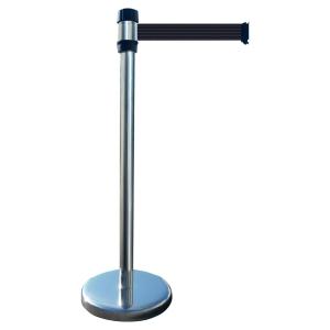 Gurtabsperrpfosten Viso, 2 m Gurt, PP/Stahl, 980 mm, 9,7 kg, metallic/schwarz