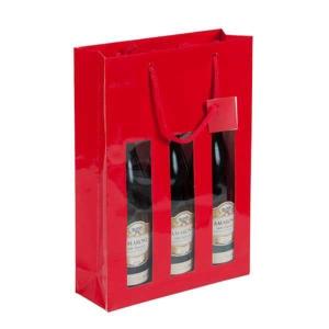 Wein-Tragtasche rot mit Fenster, für 3 Flaschen, Packung à 10 Stück