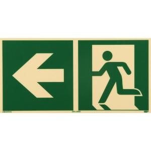 Rettungszeichen RETTUNGSWEG LINKS, Kunststoff sk. lang nachleuchtend, 297x148 mm