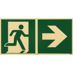 Rettungszeichen RETTUNGSWEG RECHTS, Kunststoff sk. lang nachleuchtend,297x148 mm