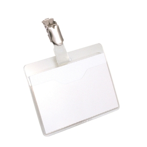 Namensschilder Durable 8106-19, 60x90 mm, mit Clip, quer, Packung à 25 Stück