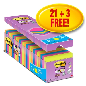Haftnotizen Post-it Super Sticky, 76x76mm, 90 Blatt, assortiert, Pk. à 24 Stk.