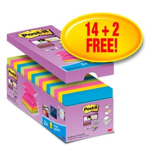 Haftnotizen Post-it Super Sticky Z-Notes, 76x76 mm, assortiert, Pk. à 16 Stk.