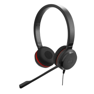 Jabra Evolve 20 UC Duo mit Mute-Taste und Lautstärke-Regler am Kabel