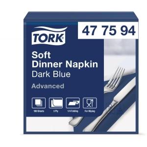 Servietten Tork 40x40cm, 1/4 Falz, blau, Packung à 100 Stück