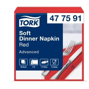 Servietten Tork 39x39 cm, 1/4 Falz, rot, Packung à 100 Stück
