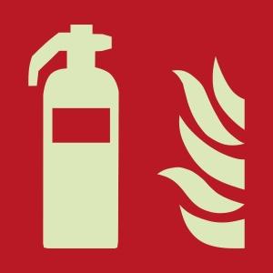 Brandschutzzeichen FEUERLÖSCHER Selbstklebefolie lang nachleuchtend, 200x200 mm