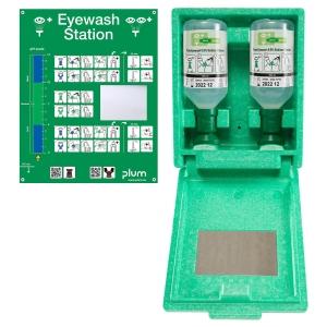 Staubgeschützte Wandbox mit 2 x 500 ml Augenspüllösung und Spiegel, Plum 4650