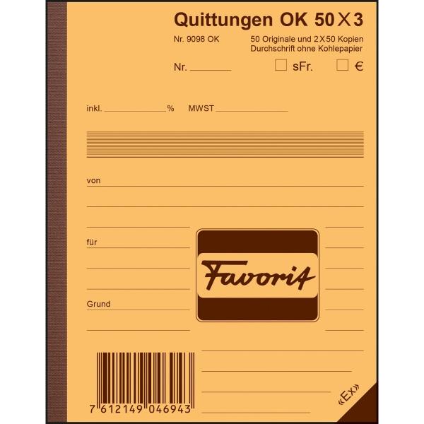 Durchschreibebuch Favorit 9098 A6, Quittung, 50x3 Blatt, blau/blau/weiss