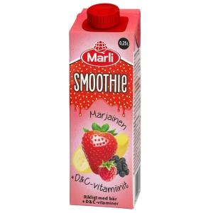 Marli marjainen smoothie + d&c -vitamiinit 2,5dl, myyntierä 1 kpl = 15 tölkkiä