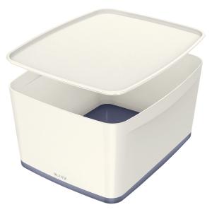 Leitz MyBox  L  Säilytyslaatikko kannella, valkoinen/metalliharmaa