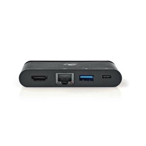 USB-C-telakointiasema, HDMI, RJ45, 1 x USB-A, musta