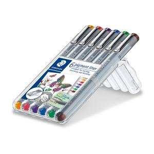 Staedtler Pigment Liner 308 kuitukärkikynä 0,5 mm värilajitelma, 1 kpl = 6 kynää