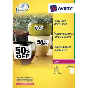 Avery L4776 Heavy Duty tarra 99.1x42.3mm 12-os valkoinen, 1kpl=240 tarraa(20ark)