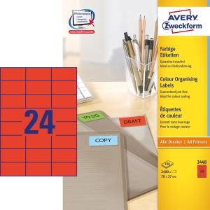 Avery 3448 Tarra 70x37mm 24-osainen, punainen, 1kpl=2400 tarraa (100 arkkia)