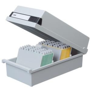 Han 956/11 kortistolaatikko A6, 1300 kortille, mitat: 177 x 360 x 140 mm, harmaa
