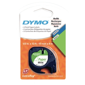 Dymo Letratag 91220 paperiteippi 12 mm valkoinen