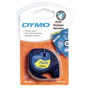 Dymo Letratag 91222 muoviteippi 12 mm keltainen