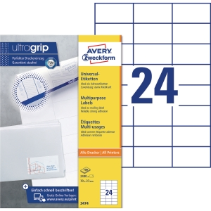 BX2400 AVERY 3474 I+L+C LABEL 70X37 WH