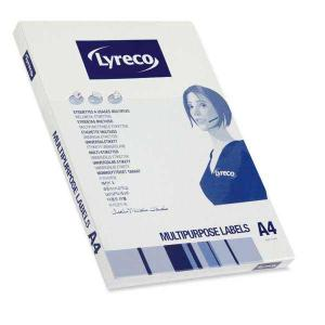 LYRECO MULTI-PURPOSE WHITE LABELS 199.6 X 289.1MM - BOX OF 100 (WITH SELVEDGE)