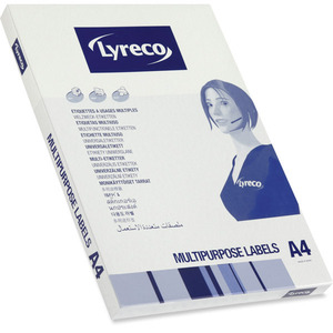 LYRECO MULTI-PURPOSE WHITE LABELS 63.5 X 33.9MM - BOX OF 2400 (WITH SELVEDGE)