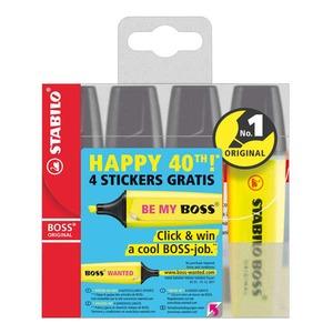 Stabilo Boss korostuskynä viisto 2-5mm värilajitelma, myyntierä 1 kpl = 4kynää