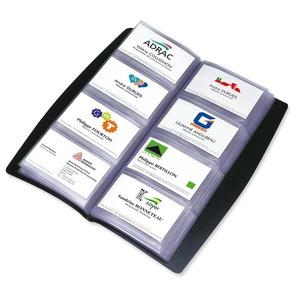 Elba käyntikorttikansio pehmeä, musta, 15 taskustoa/240 kortille