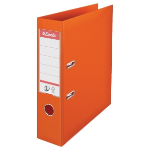 Esselte No1 mappi A4 75mm oranssi, alaosassa metallivahvike