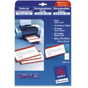 Avery C32016 Käyntikortti 85 x 54 mm satiini lasertulostukseen, 1kpl=250 korttia