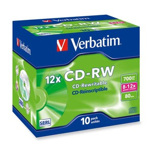 Verbatim CD-RW 80min 700MB 8-12x jewel case, 1kpl=10 levyä